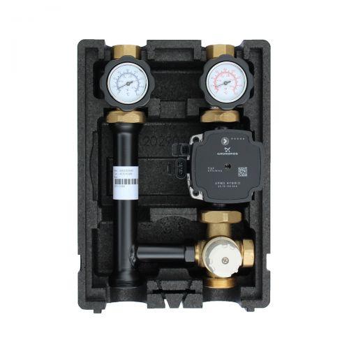 004 | Heizkreispumpengruppe mit Drei-Wege-Mischer, Festwertthermostat 40-70°C und GRUNDFOS UPM3 HYBRID 25/7 Hocheffizienzpumpe