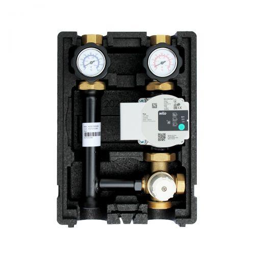 Heizkreispumpengruppe mit Drei-Wege-Mischer, Festwertthermostat 25-55°C und Wilo Para STG 25/8-75 Hocheffizienzpumpe