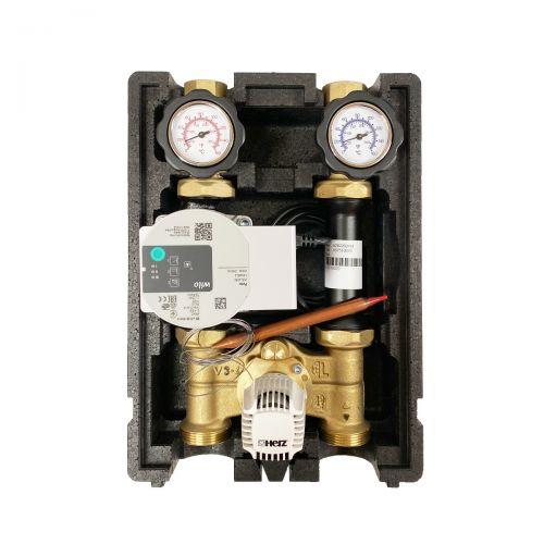 HL002 | Heizkreispumpengruppe mit Drei-Wege-Mischer, Kapillar-Thermostatkopf 20-50°C und Wilo Para STG 25/8-75 Hocheffizienzpumpe