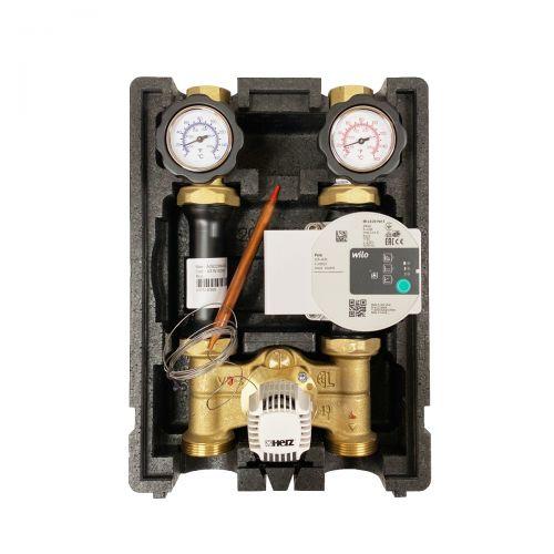 HR002 | Heizkreispumpengruppe mit Drei-Wege-Mischer, Kapillar-Thermostatkopf 40-70°C und Wilo Para STG 25/8-75 Hocheffizienzpumpe