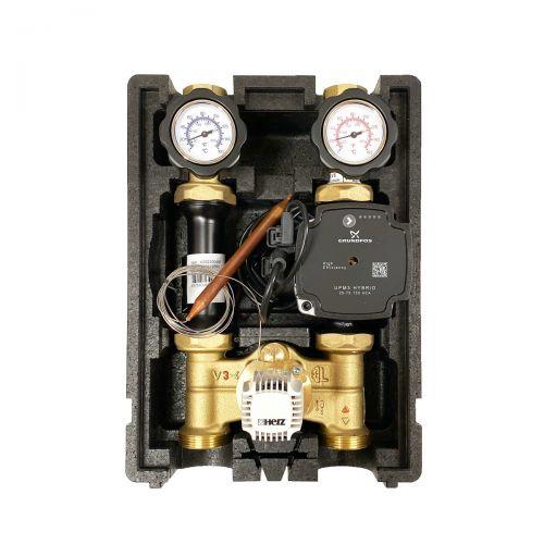 HR002 | Heizkreispumpengruppe mit Drei-Wege-Mischer, Kapillar-Thermostatkopf 20-50°C und GRUNDFOS UPM3 HYBRID 25/7 Hocheffizienzpumpe