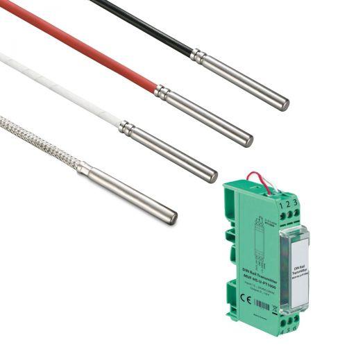 Norm- bzw. Hutschienen-Messumformer mit Kabelfühler Ø 6 mm (0‑10V/4‑20mA)