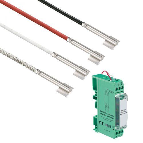Norm- bzw. Hutschienen-Messumformer mit Rohranlegefühler mit Edelstahlhülse (0‑10V/4‑20mA)