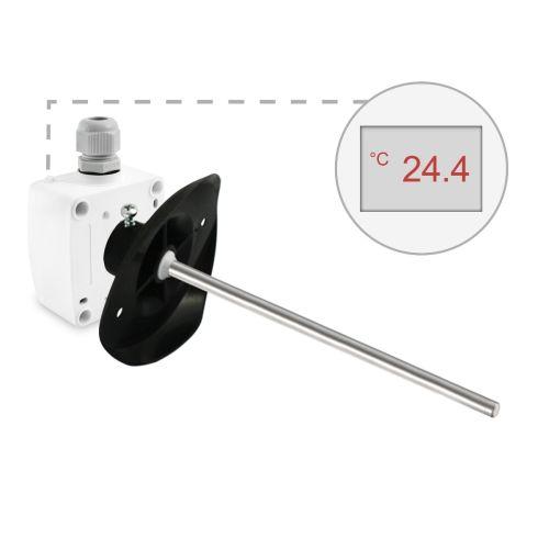 Kanaltemperaturfühler mit Montageflansch (0‑10V/4‑20mA)