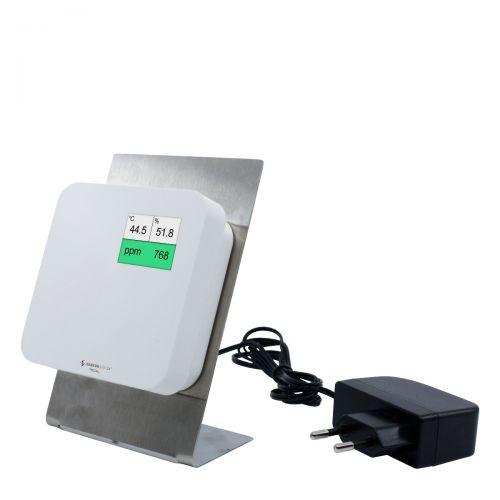 Luftqualitätsmonitor mit Ampel zur Messung von CO2, Temperatur und Feuchte - grüner Bereich