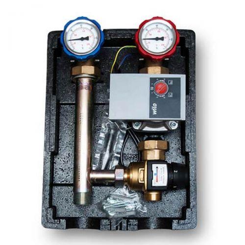 Heizkreispumpengruppe mit 3 Wege Mischer mit Temperaturbereich 20-50°C für Fußbodenheizung - GRUNDFOS oder WILO Pumpe