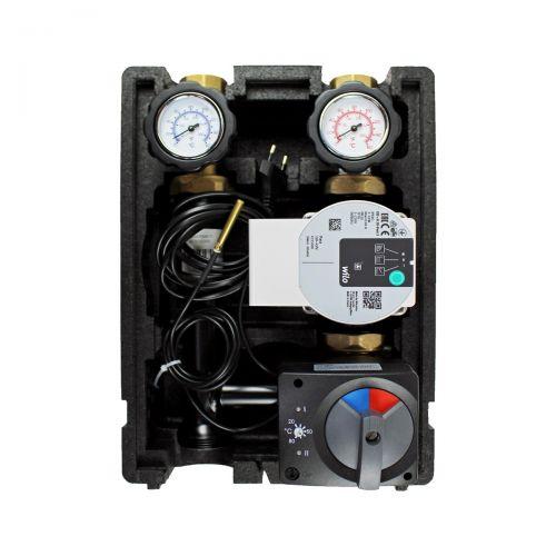 T001 | Heizkreispumpengruppe mit Drei-Wege-Mischer, ELODRIVE elektr. Stellmotor mit integrierter Regelung 20-80°C und GRUNDFOS UPM3 HYBRID 25/7 Hocheffizienzpumpe