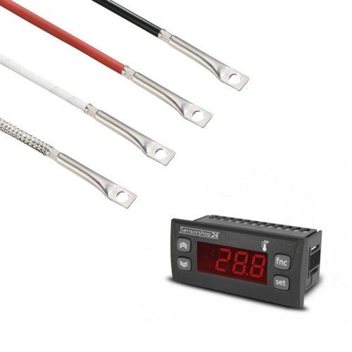 Elektronische Temperaturanzeige für PT100 inkl. Oberflächenfühler mit integrierter Bohrung