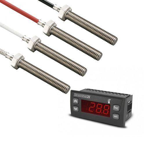 Elektronische Temperaturanzeige für PT100 inkl. Einschraubfühler M8x50