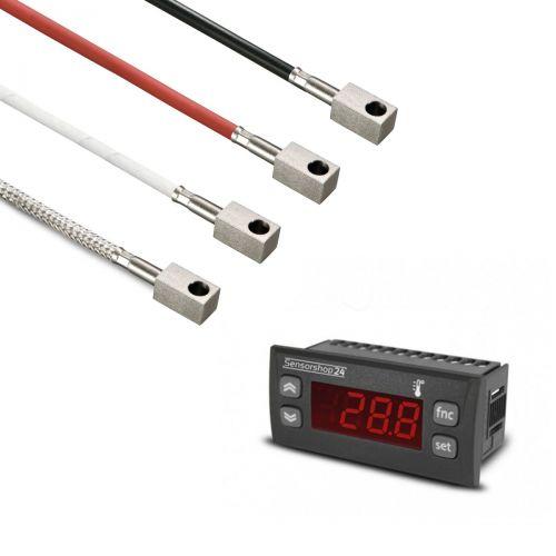 Elektronische Temperaturanzeige für PT100 inkl. Oberflächenfühler mit Anlegeklotz