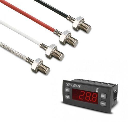 Elektronische Temperaturanzeige für PT100 inkl. Einschraubfühler M8x10
