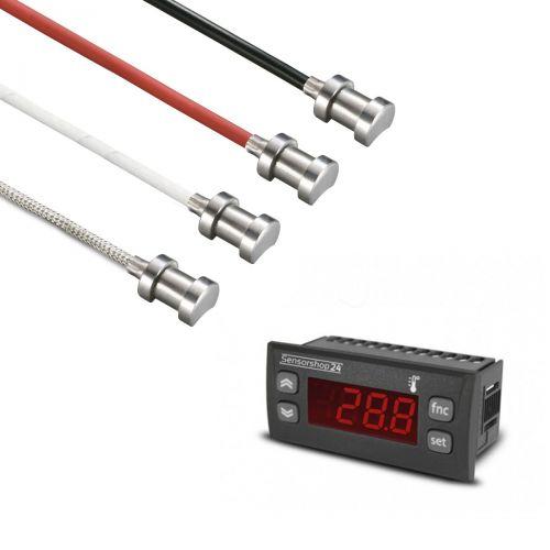 Elektronische Temperaturanzeige für PT100 inkl. Rohranlegefühler